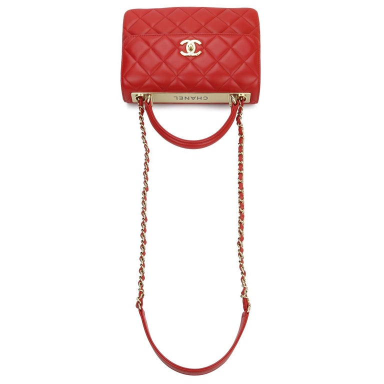 CHANEL Trendy CC Bag Small Red Lambskin with Light Gold Hardware 2020 For Sale 7