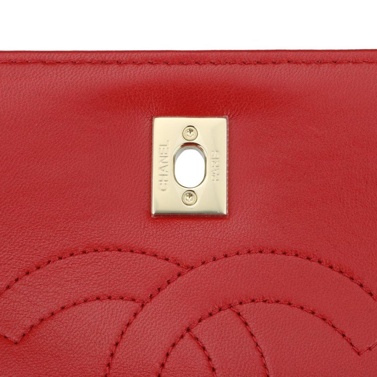 CHANEL Trendy CC Bag Small Red Lambskin with Light Gold Hardware 2020 For Sale 9