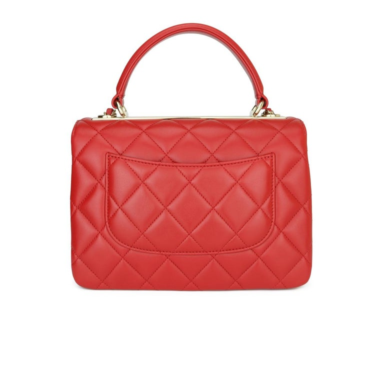 CHANEL Trendy CC Bag Small Red Lambskin with Light Gold Hardware 2020 In Excellent Condition For Sale In Huddersfield, GB