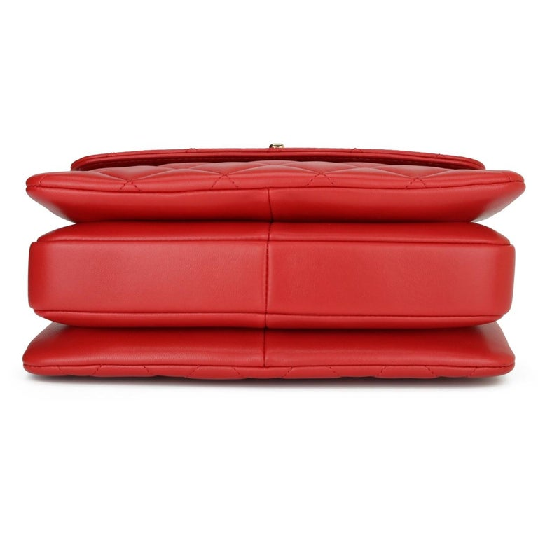 CHANEL Trendy CC Bag Small Red Lambskin with Light Gold Hardware 2020 For Sale 3