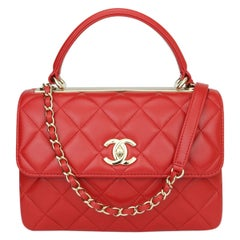 CHANEL Trendy CC Bag Small Red Lambskin with Light Gold Hardware 2020