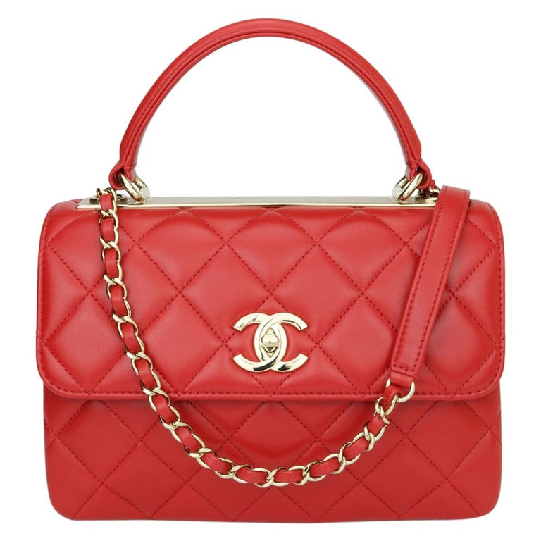 CHANEL Trendy CC Bag Small Red Lambskin with Light Gold Hardware 2020 For Sale
