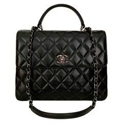 Chanel Trendy CC Black Leather Top Handle Bag