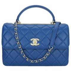 CHANEL Trendy CC Top Handle Bag Medium Blue Lambskin with Gold Hardware 2019