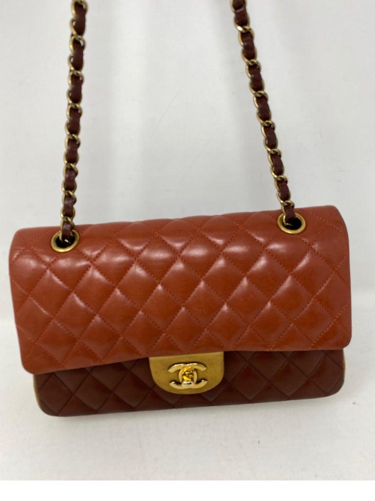 Chanel Tri-color Medium Double Flap Bag. Gold hardware. Excellent condition. Rare multi color medium size bag. Collector's piece. Beautiful and unique bag. Guaranteed authentic.