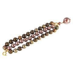 Chanel Tri Color Triple row Bracelet