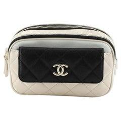 Chanel Tricolor CC Front Pocket Waist Bag Quilted Goatskin
