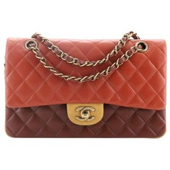 Chanel Tricolor Classic Double Flap Bag Quilted Lambskin Medium