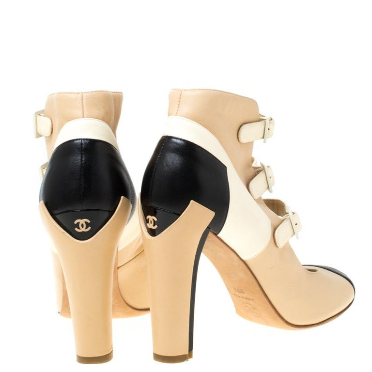 Beige Chanel Tricolor Leather Strappy Ankle Boots Size 38.5 For Sale