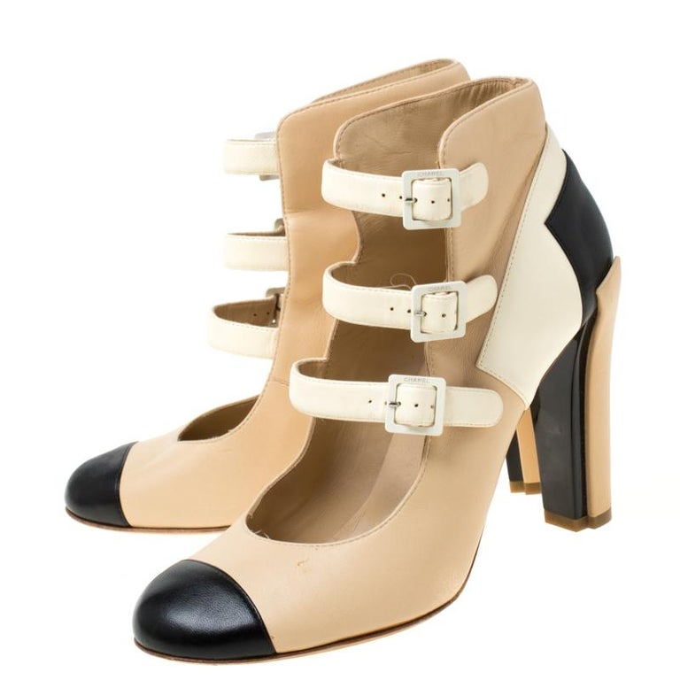 Chanel Tricolor Leather Strappy Ankle Boots Size 38.5 For Sale 2