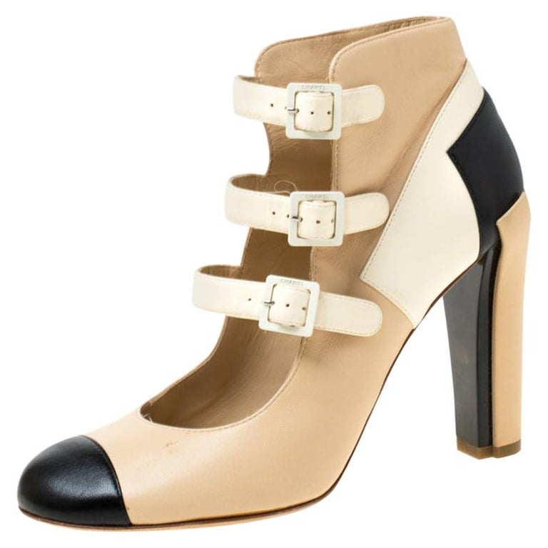Chanel Tricolor Leather Strappy Ankle Boots Size 38.5 For Sale