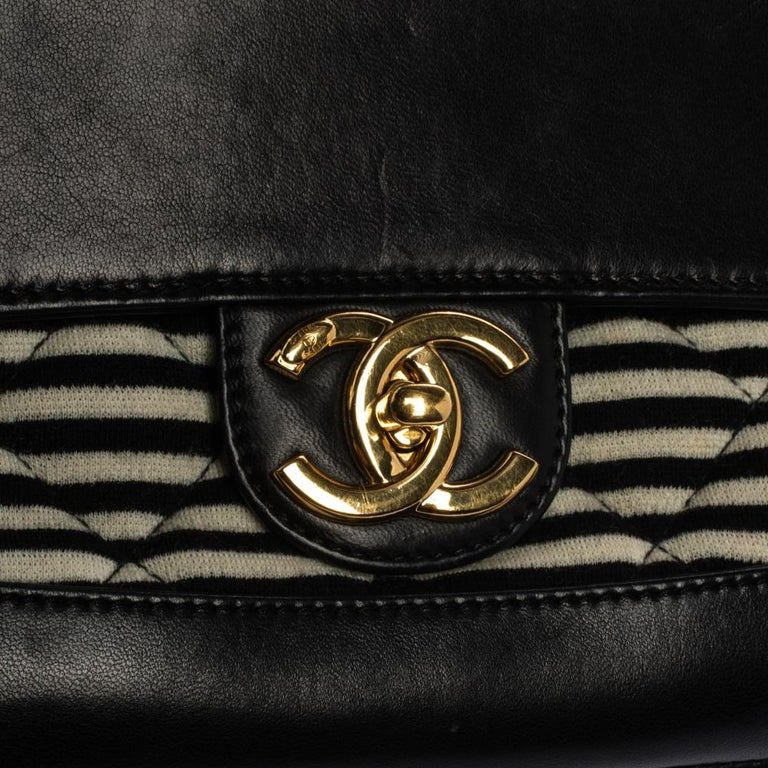 Chanel Tricolor Striped Jersey and Leather Jumbo Coco Sailor Flap Bag For Sale 8