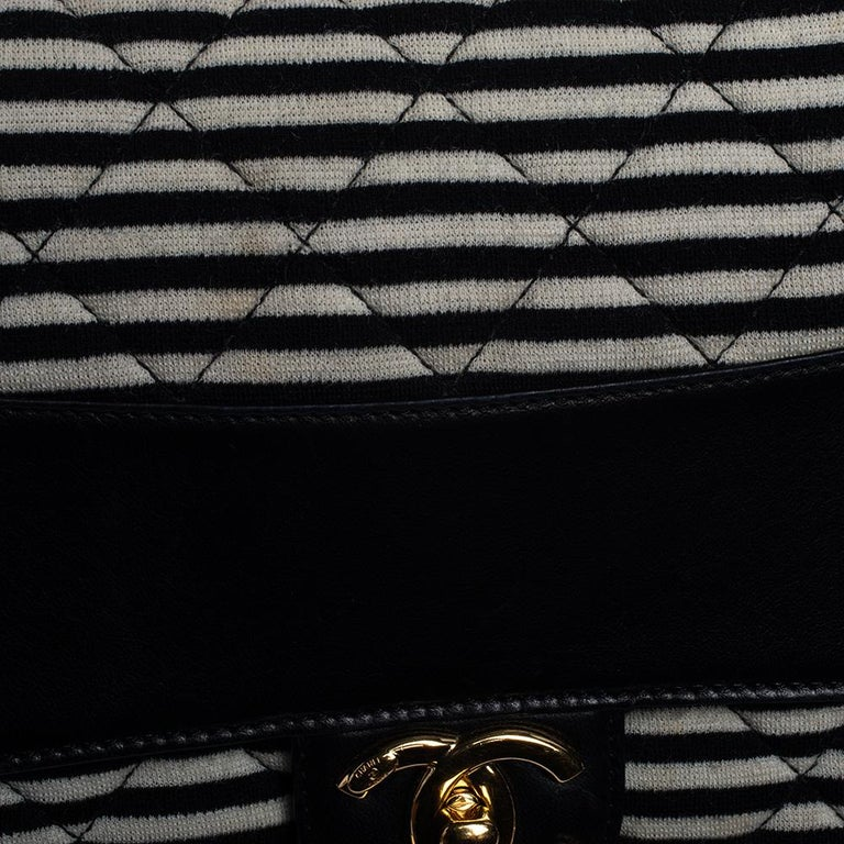 Chanel Tricolor Striped Jersey and Leather Jumbo Coco Sailor Flap Bag For Sale 9