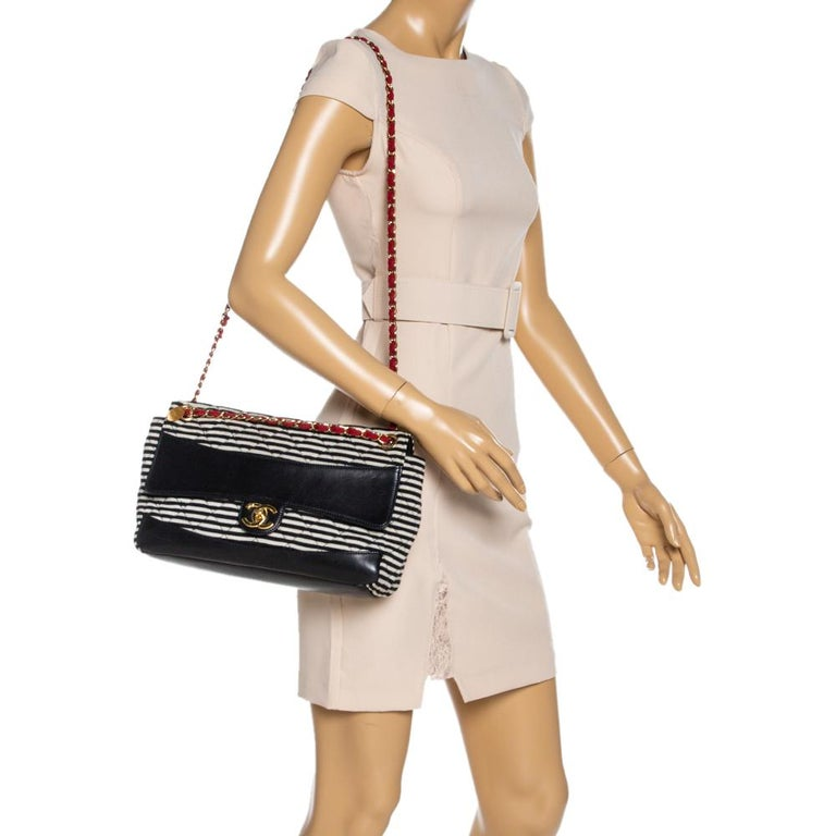 Black Chanel Tricolor Striped Jersey and Leather Jumbo Coco Sailor Flap Bag For Sale