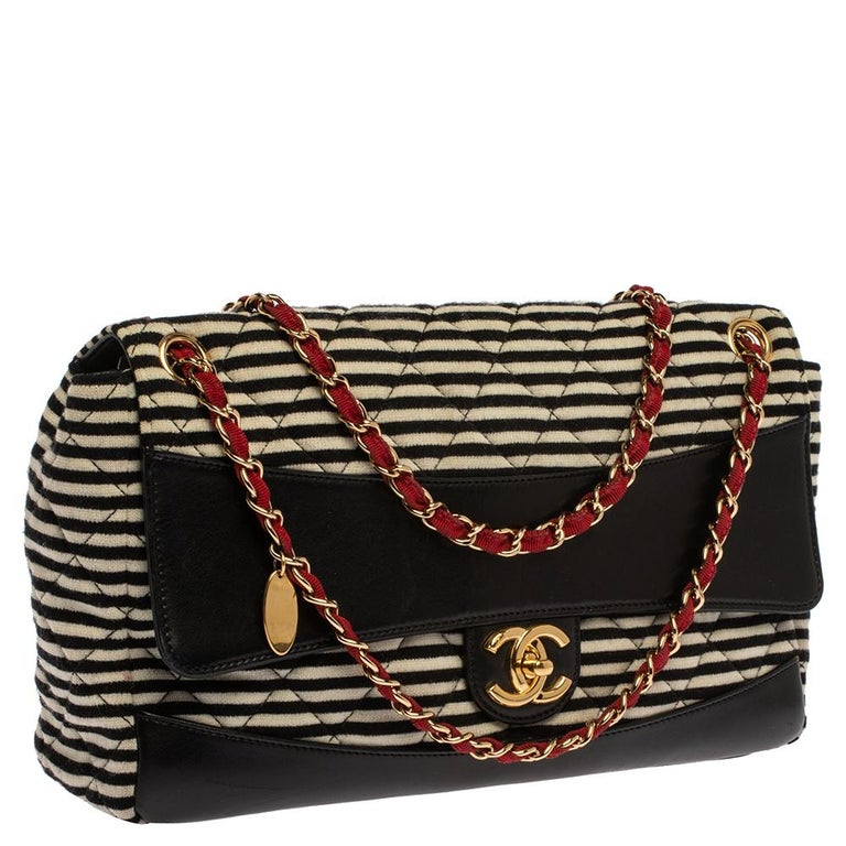 Chanel Tricolor Striped Jersey and Leather Jumbo Coco Sailor Flap Bag In Good Condition For Sale In Dubai, Al Qouz 2