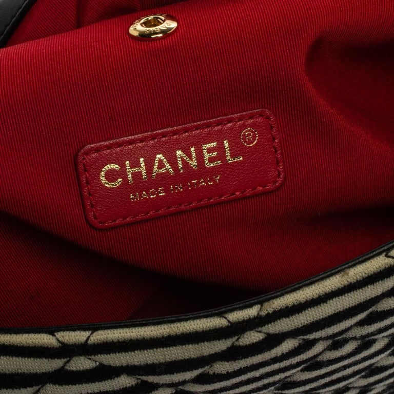 Chanel Tricolor Striped Jersey and Leather Jumbo Coco Sailor Flap Bag For Sale 1