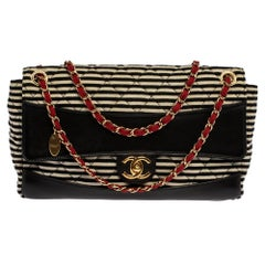 Chanel Tricolor Striped Jersey and Leather Jumbo Coco Sailor Flap Bag