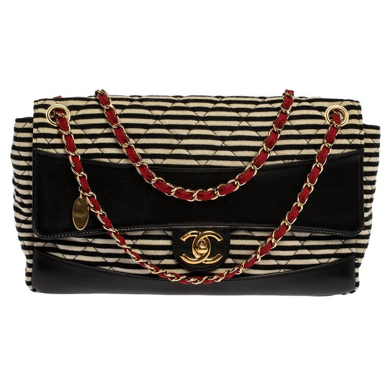 Chanel Tricolor Striped Jersey and Leather Jumbo Coco Sailor Flap Bag For Sale