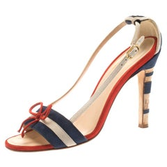 Chanel Tricolor Striped Suede Bow Detail CC Cork Heel Open Toe Sandals Size 36.5