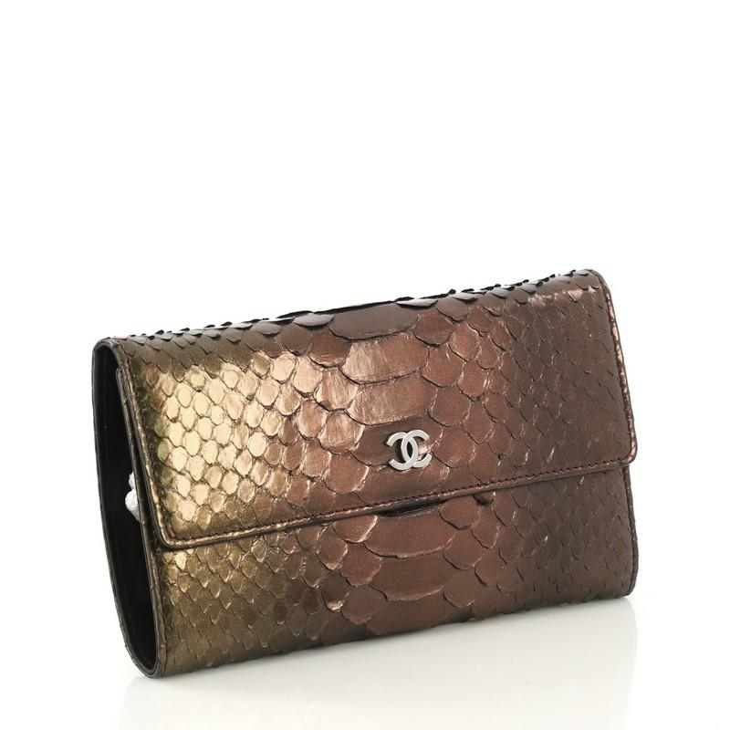 9f5219aead19 Chanel Trifold Wallet Python Medium For Sale at 1stdibs