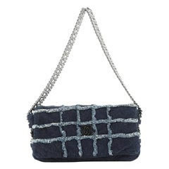 Chanel Triple Chain Fringe Flap Bag Denim