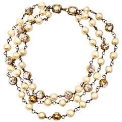 Chanel Triple Strand Pearl & Gold Nugget Rhinestone Necklace