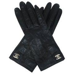 Chanel Turn Lock Logo Black Leather Gloves