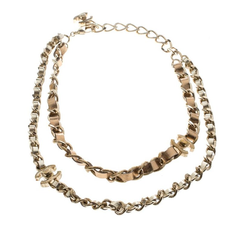 ec2636c173a17 Chanel Turnlock Metallic Leather Gold Tone Double Chain Necklace For Sale