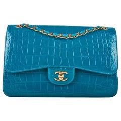 Chanel Turquoise Alligator Jumbo Double Flap Bag No. 20173682
