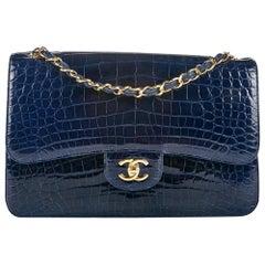 Chanel Navy Alligator Jumbo Double Flap Bag No. 22259765