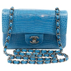 Chanel Turquoise Blue Matte Alligator Small Classic Flap Bag