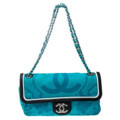 Chanel Turquoise Canvas Classic Ultra Rare Limited Edition CC Flap Shoulder Bag
