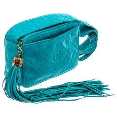 Chanel Turquoise Diamond Quilt Leather Camera Bag