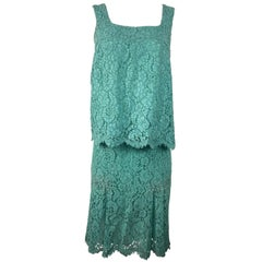 Chanel Turquoise Floral Lace Top and Skirt Set Size 40