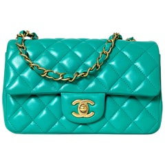 Chanel Turquoise Lambskin Quilted Rectangular Mini Classic Flap Crossbody Bag