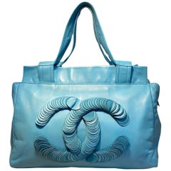Chanel Turquoise Leather Disc Tote