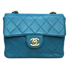 Chanel Turquoise Leather Mini Flap Bag