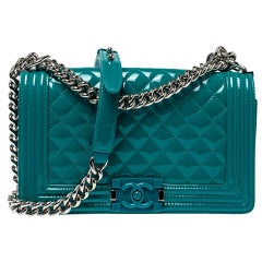 Chanel Turquoise Patent Leather Medium Plexiglas Boy Bag