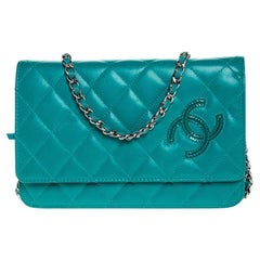 Chanel Turquoise Quilted Leather Flap WOC Bag