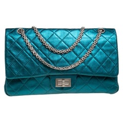 Chanel Turquoise Quilted Leather Jumbo Reissue 2.55 Classic 227 Flap Bag