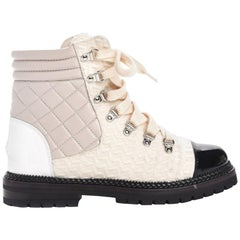 Chanel Tweed and Quilted Lambskin Leather Boots