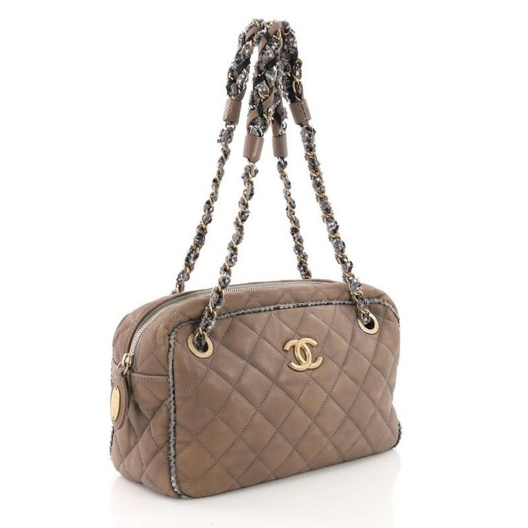 069bfc5c4b3178 Brown Chanel Tweed Chain Camera Bag Quilted Lambskin and Tweed Small For  Sale