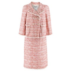 Chanel Tweed Double-Breasted Red & White Skirt Suit SIZE 40