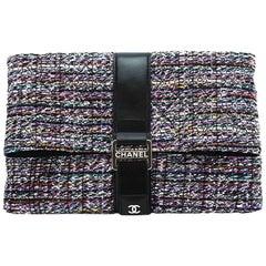 Chanel Tweed Flap Over Oversized Runway Clutch