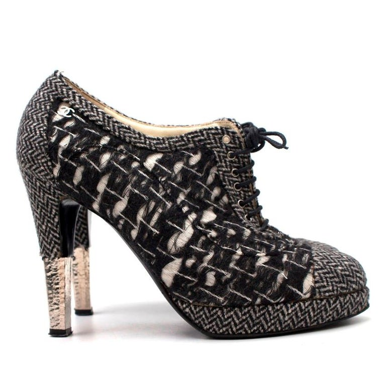 a2b2f4c47f71 Chanel Tweed Lace Up Heels -Lace up platform heels -Variety of tweed  patterns -