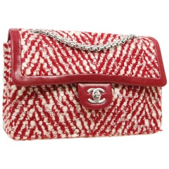 Chanel Tweed Leather Red White Silver  Medium Evening Shoulder Flap Bag