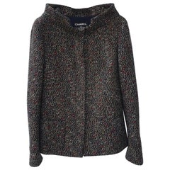 Chanel Tweed Multicolor Wool-Blend Boat Neck Button Front Blazer Jacket