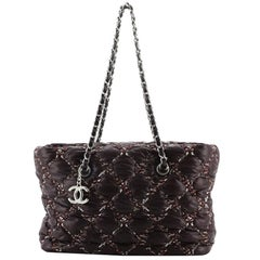 Chanel Tweed on Stitch Zip Tote Quilted Nylon Small