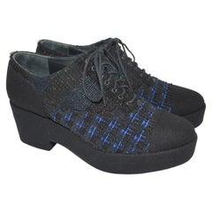 Chanel Tweed Oxford Platform Shoes, size 40