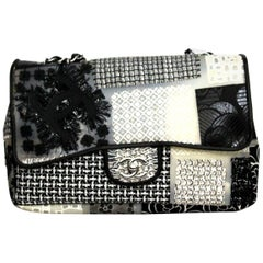 CHANEL Tweed Patchwork Jumbo Single Flap Black